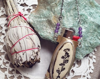 Lighter Sleeve Pendant Necklace // incense, altar, candles, wicca, wiccan, earthy