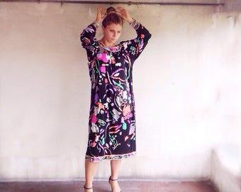 70's Leonard Paris Sil Dress / Vintage Dress Leonard Paris