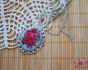 Gift for women flowers necklace nature jewelry pendant necklace gift for mom gifts for wife Hot pink roses necklace embroidered jewelry gift