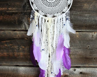 Purple Dreamcatcher-Shabby Dreamcatcher-Lavender Purple Nursery-Lavender White Dream Catcher-Lavender Bedroom Decor-Feather Dream Catcher