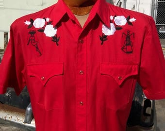 Pin Up Rockabilly Western Men's Shirt By Maria B. Hand Drawn Screen Print Pin Ups & Vintage Western Shirt. Size Medium.