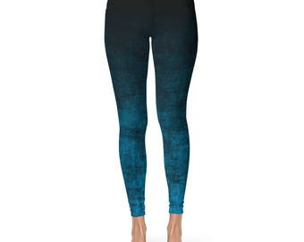 Blue Leggings - Black and Blue Ombre Leggings, Grunge Workout Pants