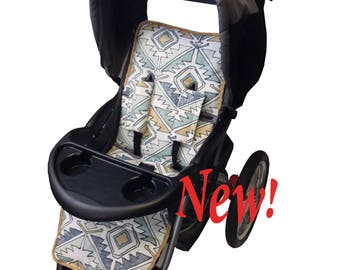 Aztec Blue Stroller Liner-Reversible to Gray Minky