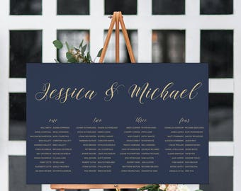 Printable Wedding Seating Chart   Printable Seating Chart   Navy Gold Wedding Seating Plan   Modern Wedding   Florence Collection
