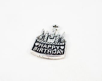 "BD54 - birthday party candle candle ""HAPPY BIRTHDAY"" cake charm pendant in antique silver"