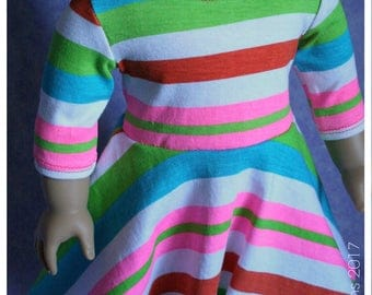 18 Inch Doll Clothes Handmade Taylor Regatta Tee Summer Dress Neon Stripes Upcycle