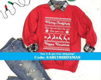 Christmas Vacation Ugly Christmas Sweater, Merry Christmas Kiss My Ass Kiss His Ass Kiss Your Ass Happy Hannukah Griswold Sweater