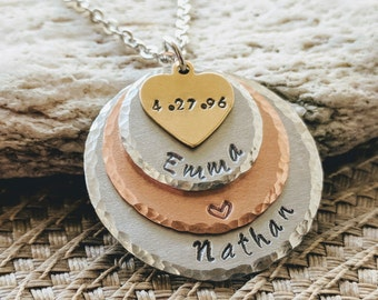 Couple name necklace, Stamped name, necklace, Personalized, necklace for her, Custom necklace, Girlfriend necklace, Girlfriend jewelry