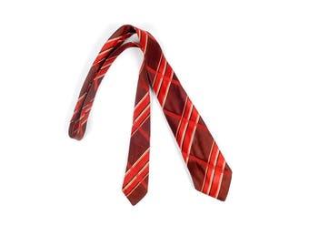 Vintage 30s Necktie - 30s Tie - 30s Cravat - 30s Brocade Necktie - 30s Plaid Necktie - Red Plaid Necktie - 30s Brown Tie - 30s Red Tie
