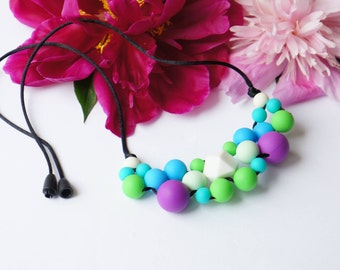 Baby Shower, Necklace for Mom, Baby Gift, Nursing Necklace, Breastfeeding, Silicone Necklace, Teething Necklace
