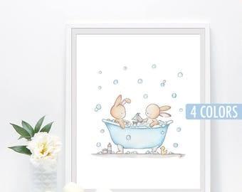 Baby nursery print, Bunny wall art, bathroom decor, kids bath print, watercolor bunny art,  4 colors