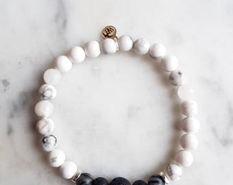 Embrace Change Diffuser Bracelet - White Howlite, Lava & Black Vein Jasper