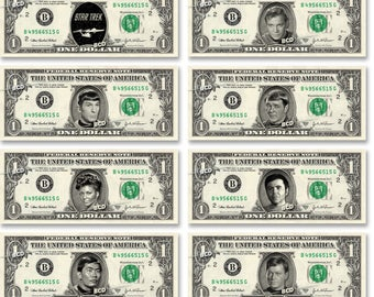 STAR TREK 8-set The Original Series Collector Pack on Real Dollar Bills TOS Cash Novelty