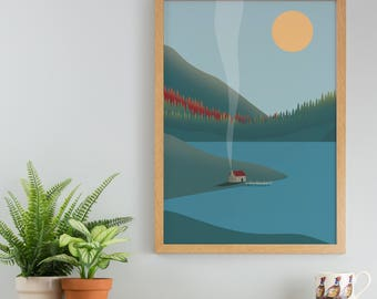 Lake House Print - A3, A4 Print - Fishing Cabin Print - America Print - Minimal Autumn Wall Art - Colourful Modern Landscape Poster - USA