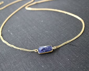 Square Sapphire Necklace, Bezel Sapphire, Sapphire Jewelry, September Birthstone necklace