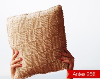 Beige wool cushion