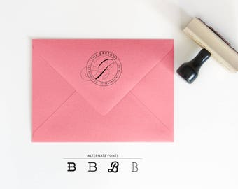 Circle Return Address Stamp - Round Rubber Stamp - Christmas Gift - Gift for Her - Personalized Stamp - Housewarming Stamp Gift - RSVP Stamp