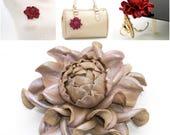 Real Leather Rose -> Make Your Own Custom Gift Beige Pearl Flower Bag Charm/Rose Brooch/Table Purse Folding Hanger Holder Table Hook & Charm