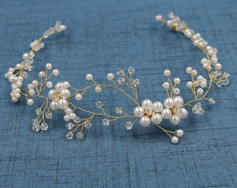 Bridal Wedding Head band Crown Circlet Hair Accessory Silver Gold Plated VICTORIAN RENAISSANCE Swarovski Crystal Pearl Flower Tiara SALE!