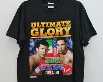 Vintage 90's Julio Cesar Chavez vs Oscar De La Hoya t shirt size L large boxing WBC