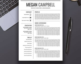Professional Resume Template, CV Template, Cover Letter, MS Word, Mac, PC, Creative, Modern Creative Teacher Resume, Instant Download, Megan