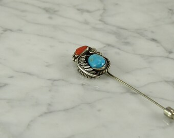 Sterling Silver / Turquoise / Coral Stick Pin