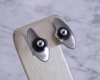 ORB Sterling Silver Screw Back Earrings Mid-Century Modern