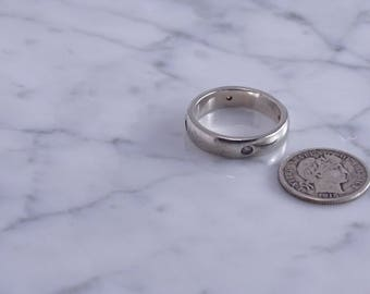 Sterling Band / Clear Stones (4)  (sz 5.75) (k)