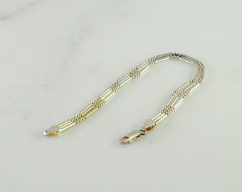 "Three Strand Beads and Bar Bracelet 7 1/2"" Milor Italy 925"
