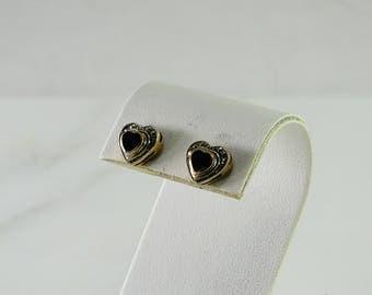 Petite Black Onyx Sterling Pierced Earrings