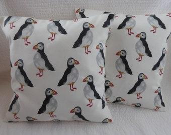 "16"" Cushion Cover Puffin Bird Print Black Grey Cream Shabby Chic Handmade 40cm"