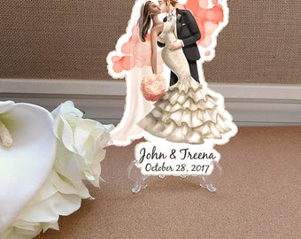 Interracial Cake Topper, Illustrated Wedding Cake Topper, Personalized Cake Topper, Wedding Illustration, Custom Wedding Cake Topper
