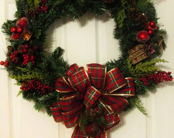 Clearance | Christmas Wreath | Winter Wreath | Christmas Decoration | Yule | Pine cones | Plaid | Berries | Fruit |