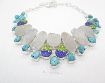 Agate Drusy and Tibetan Turquoise Sterling Silver Necklace