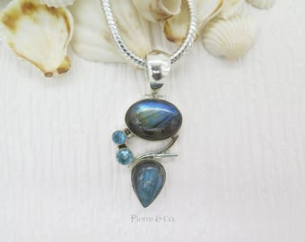 Blue Labradorite and Blue Topaz Sterling Silver Pendant and Chain