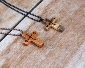 Wood Cross Necklace, Wooden Cross, Wood Cross Pendant, He Is Risen Cross, Easter Cross, Mens Cross Necklace, Womens Cross, Cherry Wood