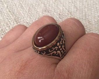 925 Sterling Silver Ottoman Handmade dark red agate stone Fashion Men Jewelry, Mens Signet, Silver Ring, Mens Gemstone Ring, mens gift