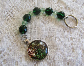 Green, Beaded Keychain, Czech Crystal Beads, Keyring, Steel Cording, Glass, Silver, Pendant, Sparkle, Glitter, Gorgeous