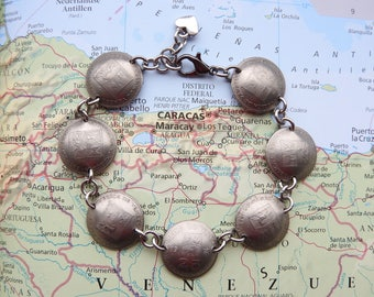 Venezuela coin bracelet - curved - made of original coins - South America - coin jewelry