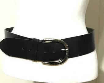 Express Black Wide Belt With Big Silver Metal Buckle Fit Medium and Large Rustic Belt