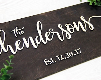 Wedding Last Name Sign, Family Name Sign, Established Family Sign, Wall Decor, Last Name Wood Sign, Last Name Wedding Gift, Family Sign