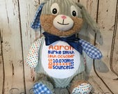 Cubbie Harlequin Bunny Rabbit Blue Embroidered Baby Gift Personalised Teddy Bear Boy Girl Christening Birth Baptism