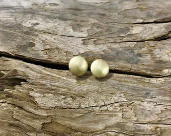 Brushed Brass Stud Earrings