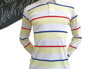 Vintage 1980s Preppy Striped Polo — Small