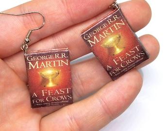 Book earrings, Мini book earrings, fantasy books, book miniature earrings, fantasy geeks gift, readers gift, nerd gift, tiny book earrings,