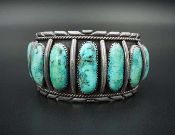"Massive Navajo Sterling Silver Natural Turquoise Cuff Bracelet 7"" 102g OF BS1249"
