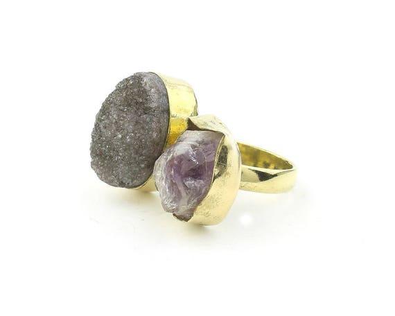 Brass Amethyst Black Drusy Ring, Raw Stone Ring, Druzy ring, Crystal Ring,Tribal, Ethnic Ring, Gypsy, Hippie,Statement, Festival, Boho