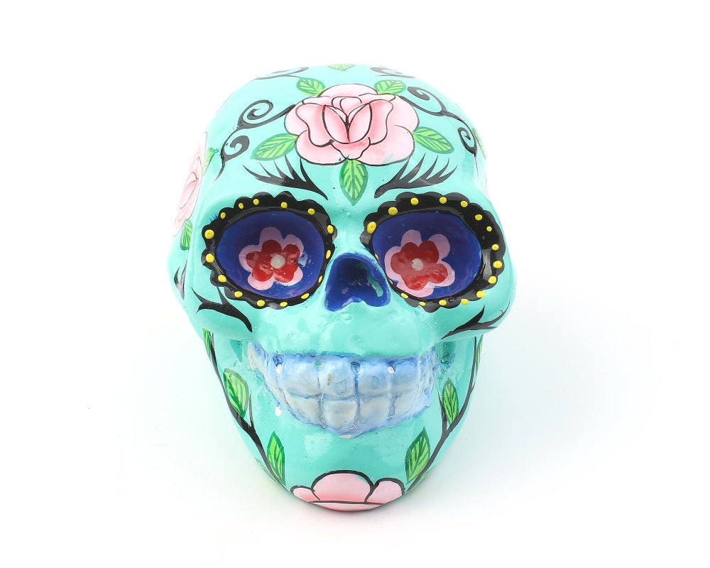 Turquoise Sugar Skull Decor, Hand Painted Skull, Mexican
