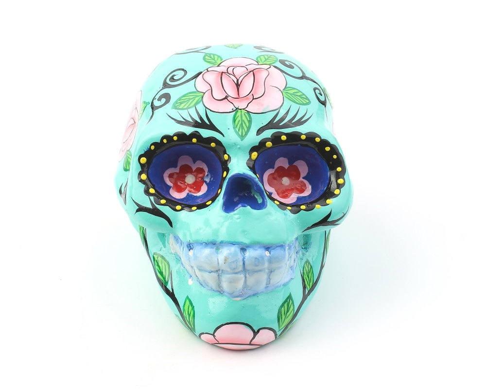 Turquoise sugar skull decor hand painted skull mexican for Skull home decor