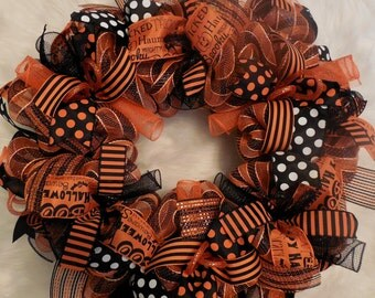 Happy Halloween Wreath, Halloween Wreath, Happy Halloween, Wreath, Wreaths, Halloween wreaths,Happy Halloween, Orange and black wreath